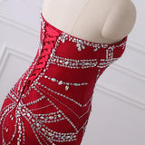 Red Sweetheart Beading Lace Up Mermaid Prom Dress