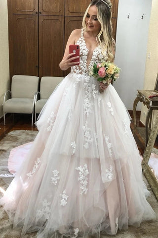Appliques Tulle Ruffles V Neck See Through Backless Wedding Dress