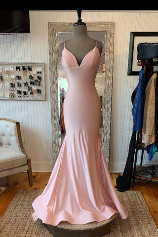 V Neck Lace-Up Back Sexy Mermaid Pink Long Prom Dress