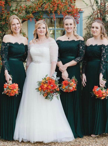 Dark Green Chiffon Off the Shoulder Long Sleeve Lace Bridesmaid Dress