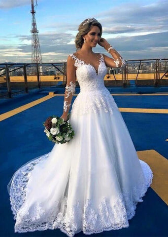 Sweep Train Beading Long Sleeve Lace Appliques Tulle Wedding Dress