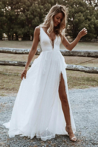 Appliques Floor Length Lace V Neck A Line Wedding Dress With Slit
