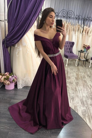 Beading Crystal Purple Long Off The Shoulder Satin Prom Dress