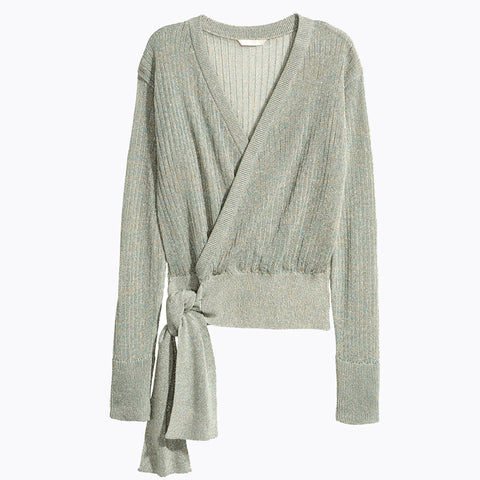 Simple Crossover V neckline Slim sweater