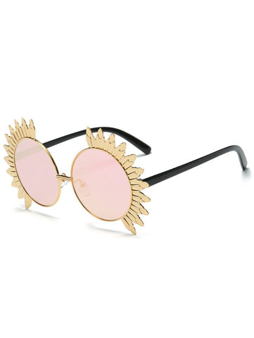 Metal Sun Design Frame Mirror Round Sunglasses