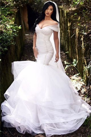 Beads Mermaid Off The Shoulder Tiered Tulle Sexy Wedding Dress