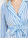 Blue Striped Slit Maxi Dress With Pockets
