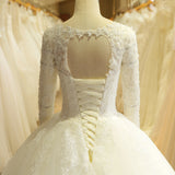 Lace Vintage Pearls Long Sleeve Wedding Dress