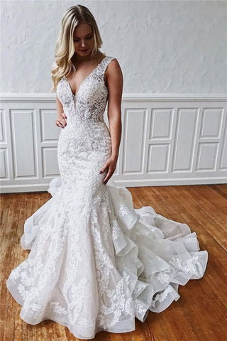 Ruffles V-neck Lace Backless Classic Mermaid Wedding Dress