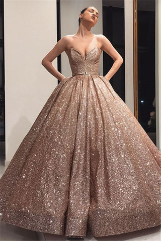 Sequin Ball Gown Strapless Gold Prom Dress With Belt