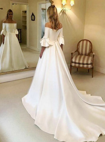 Short Sleeve A-Line White Satin Off the Shoulder Wedding Dress
