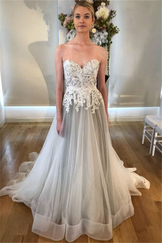 Open Back Gray Sweetheart See Through Lace Appliques Wedding Dress