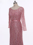 Long Sleeves Sequined Beading Evening Dress