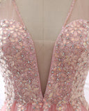 Sparkly Beading Long Prom Party Gowns Backless A Line