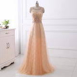 Chic Coral Tulle Scoop Prom Dress