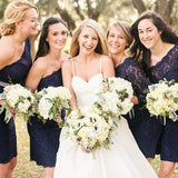 One Shoulder Short Navy Blue Lace Bridesmaid Dress with Sash