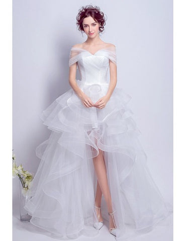 Lace Up Ruffles High Low Off-the-shoulder Tulle Wedding Dress