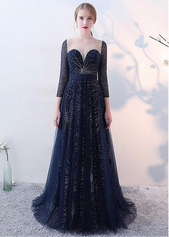 Sequin Lace Jewel Long Sleeves Beadings A-line Evening Dress