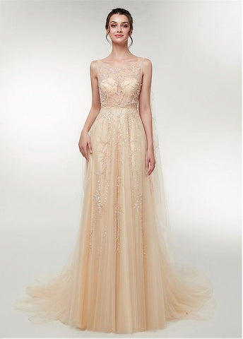 Scoop Tulle Champagne Long A-line Prom Dress