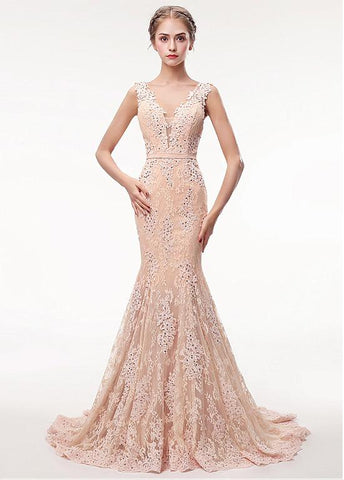 Lace V-neck Rhinestones Champagne Mermaid Evening Dress With Belt