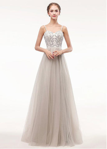 Tulle Spaghetti Straps Champagne Beading A-line Prom Dress