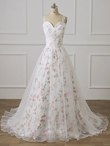 Print Floral Straps Lace Appliques White Long Prom Dress