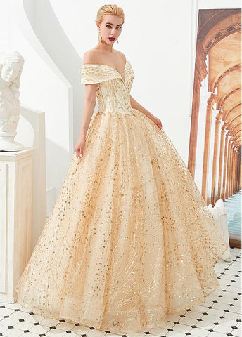 Gold Timeless Sequin Lace Evening Prom Dress