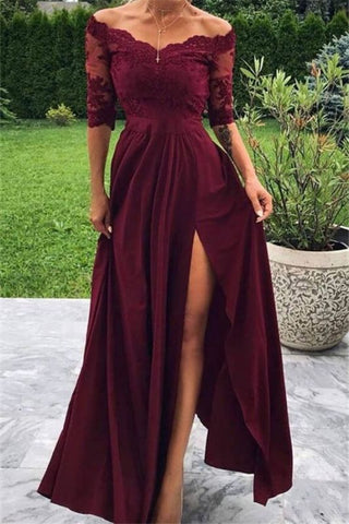 Short Sleeves Lace Appliques Burgundy Off-The-Shoulder Side-Slit A-Line Prom Dress