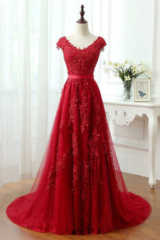 Beading Lace Tulle Long Red V Neck Appliques Prom Dress