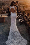 Open Back Mermaid Sexy Side Lace Appliques Halter Slit Wedding Dress
