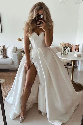 Satin Long Pleats White Sweetheart Prom Dress With Slit
