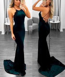 Burgundy Velvet Mermaid Long Prom Dress
