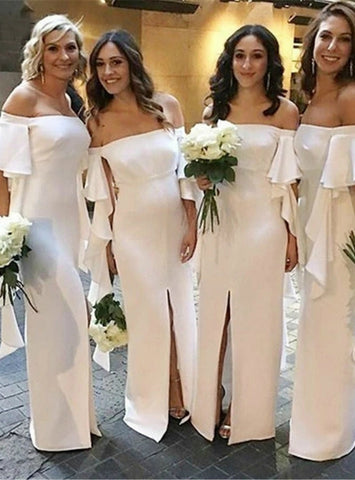 White Satin Off the Shoulder Short Sleeve Front Slit Bridesmaid Dress
