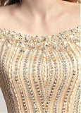 Gold Tulle Scoop Mermaid Evening Dress With Beadings