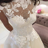 Bateau Cap Sleeves Court Train Wedding Dress with Lace Appliques