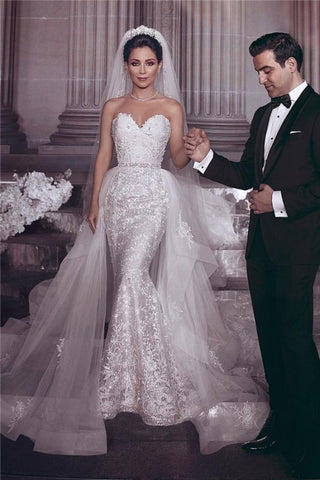 Tulle Appliques Stylish Strapless Wedding Dress With Detachable Overskirt