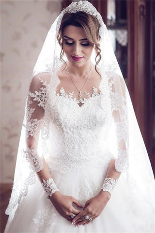 Long Train See Through Back Bride Lace Long Sleeve Ball Gown Wedding Dress