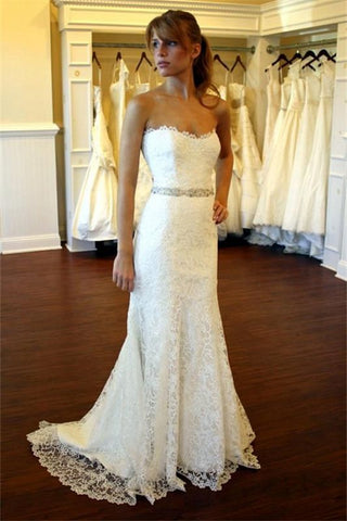Sexy Bridal Strapless Lace Close-fitting Wedding Dress with Crystal Belt