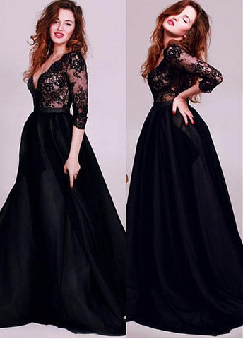 Belt Satin V-neck Long Sleeves Black A-line Evening Dress