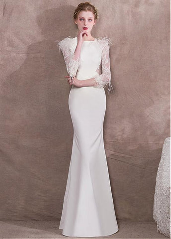 Lace & Spandex Bateau White Mermaid Evening Dress