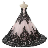 Pink and Black Applique Lace Quinceanera Ball Prom Dresses