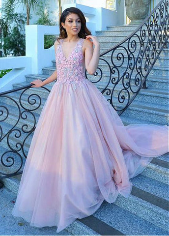 Tulle V-neck Pink Flower A-line Prom Dress With Appliques