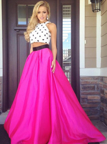 A-line Crew Polk Dots Long Two Piece Prom Dress