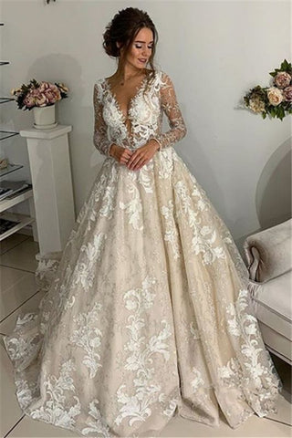 See Through Long Sleeve Lace Appliques V-Neck Open Back Wedding Dress