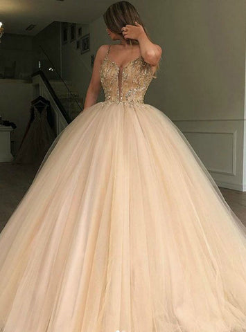 Champagne Tulle Spaghetti Straps Ball Gown Beading Prom Dress