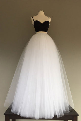 Tulle Two Pieces Simple White/Black Long Wedding Dress
