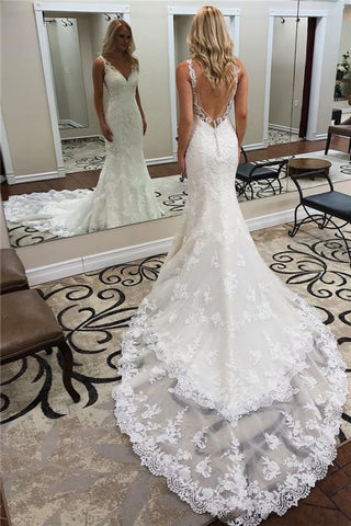Court Train Lace Backless V-neck Sexy Straps Mermaid Wedding Dress