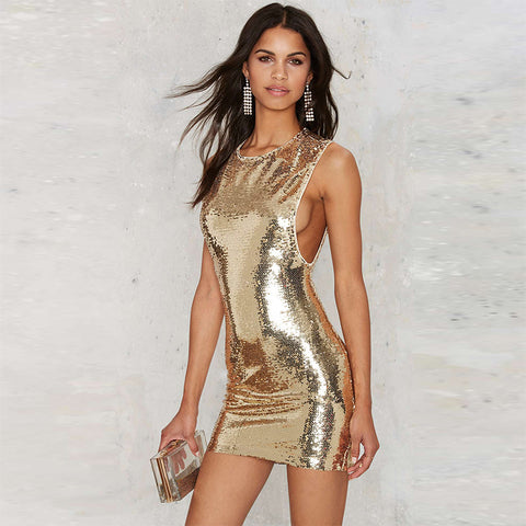 Rose Gold Sheath Sequin Dress