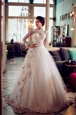 Appliques Tulle A-line 3D Flower Floral Long Sleeves Wedding Dress