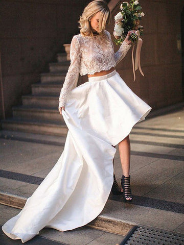 Long Sleeve Lace Scoop Two Piece Sexy Satin Sweep Train Wedding Dress